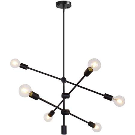 Sputnik Chandelier 6 Lights Modern Pendant Lighting Ceiling Light Fixture, Black