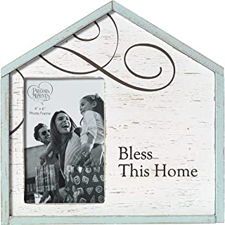 Precious Moments Bless This Home Rustic Farmhouse Distressed 4x6 Wood & Metal Photo Frame Home Decor 173426