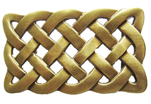 1.58 inches 40 mm Celtic Cross Knot Solid Brass Belt Buckle