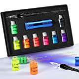 ESSSHOP Glass Calligraphy Dipped Pen and 7 Colorful Inks Set with Fluorescent & Invisible Ink Dip Pen for Writing, Signing, Drawing, Calligraphy, Decoration, Gift