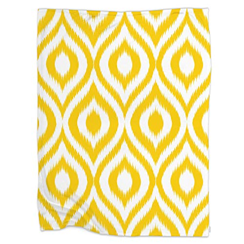 Swono Yellow Geometric Throw Blanket,Seamless Retro Background in Modern Ikat Pattern Thorw Blanket Soft Warm Decorative Blanket for Bed Couch Sofa Office Blanket 40'X50'