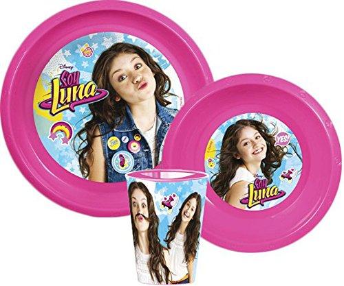 Disney Set petit déjeuner Soy Luna avec gobelet, bol, assiette Plus Feuille d'autocollants