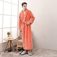 女性男性プラスサイズ暖かい冬のローブ女性エクストラロング暖かいフランネルサーマルバスローブ着物ドレッシングガウン、女性オレンジ、M