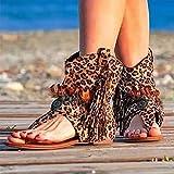 XLBHSH 2021 Sandalias de Mujer Gladiador Bohemio Retro Sandalias Casuales con Flecos Chanclas Planas Botines Zapatos de Playa Correa en Forma de T Sandalias,Rosado,38