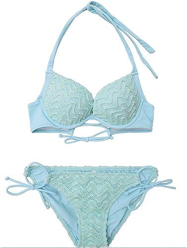 FENGMING femmes Halter Triangle Bikini définit Deux pièces Maillots de Bain rembourrés (Couleur   Vert, Taille   S)