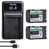 Tectra 2-Pack BP-2L12 BP-2L14 Battery and LED USB Charger for Canon DC310 DC330 Elura 60 Vixia HG10 Vixia HV20 Vixia HV30 ZR100 ZR200 ZR300 ZR500 ZR600 ZR800