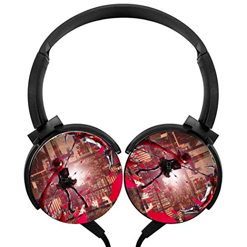 Stereo Gaming Headset Headset Wired Stereo Headphones Anime RWBY Red Ruby Rose Lightweight with Mic Over Ear, Cartoon Headsets for Smartphone and Tv 3.5Mm Black