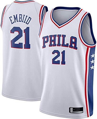 BMSGM Camisetas para Hombre-NBA Philadelphia 76Ers # 21 Joel Embiid Camiseta De Baloncesto Sin Mangas Camiseta Deportiva, Malla De Tela Transpirable,A,XXL(185~190CM/95~110KG)