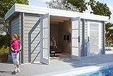 CARLSSON Alpholz Gartenhaus Modern-E aus Massiv-Holz | Gerätehaus mit 28 mm Wandstärke | Garten Holzhaus inklusive Montagematerial | Geräteschuppen Größe: 470 x 320 cm | Flachdach