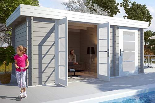 CARLSSON Alpholz Gartenhaus Holz modern Modern-E aus Massiv-Holz | Gerätehaus mit 28 mm Wandstärke | Garten Holzhaus inklusive Montagematerial | Geräteschuppen Größe: 470 x 320 cm | Flachdach