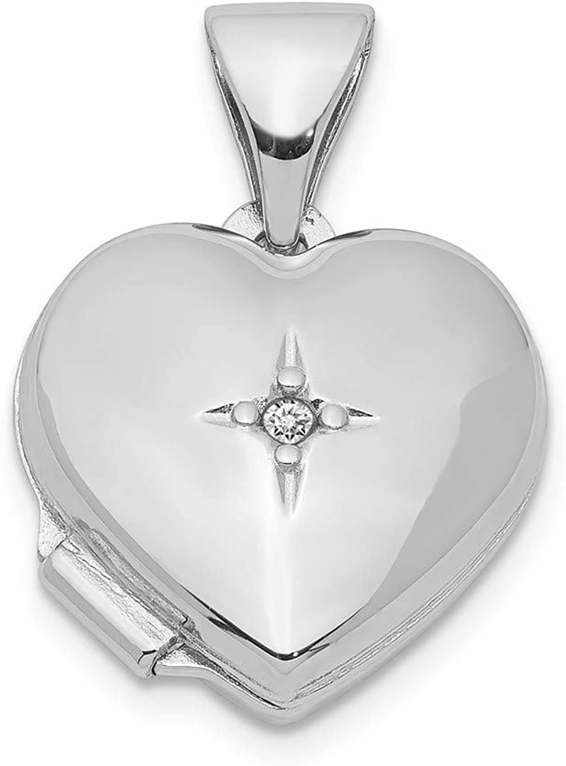 FB Jewels Solid Sterling Silver RhodiumPlated 12mm Heart With Diamond Locket