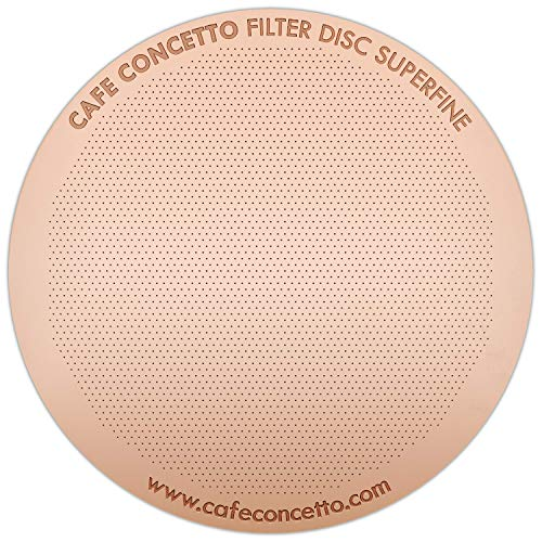 Filter for AeroPress - CAFE CONCETTO - Disc Superfine - Reusable - Premium Coated Stainless Steel (Rose Gold, Metal) - Brew Tips Included