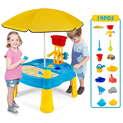 Costzon Kids Sand and Water Table, 2 in 1 Splash Water Table for Toddlers, Summer Beach Activity Toy Set for Outdoor Indoors, Sensory Playset Table w/ 18 Pcs Accessories (with Umbrella)