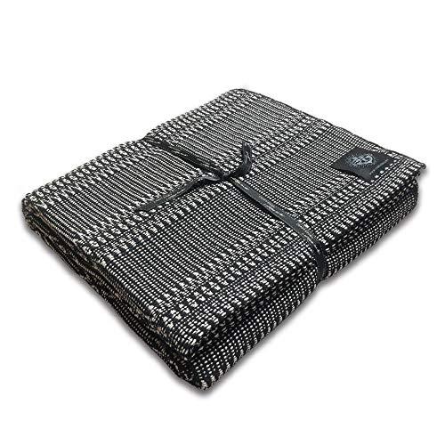 Craft Story Decke FELI I schwarz – Weiss aus 100prozent Baumwolle I Tagesdecke I Sofa-Decke I Couch-Überwurf I Bedspread I Plaid I 170 x 220cm