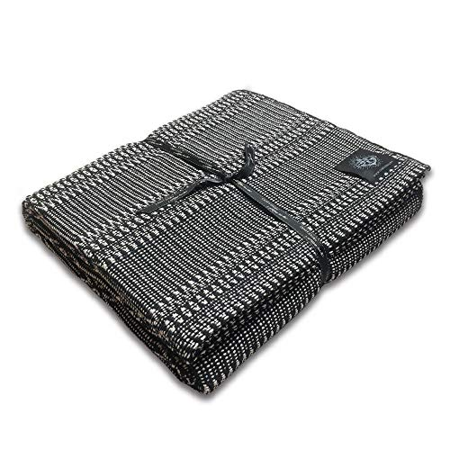Craft Story Decke FELI I schwarz – Weiss aus 100% Baumwolle I Tagesdecke I Sofa-Decke I Couch-Überwurf I Bedspread I Plaid I 170 x 220cm