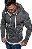 Amaci&Sons Herren Zipper Kapuzenpullover Sweatjacke Pullover Hoodie Sweatshirt 1-04029 Anthrazit M