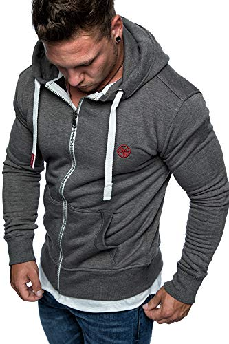 Amaci&Sons Herren Zipper Kapuzenpullover Sweatjacke Pullover Hoodie Sweatshirt 1-04029 Anthrazit L