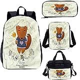Zodiac Virgo 17 pulgadas mochila escolar y bolsa de almuerzo, divertido niños dibujos animados 4 en 1 conjuntos de mochila