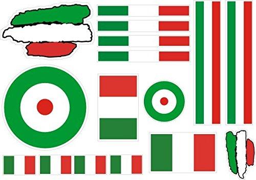 lote Pegatina vinilo para coche, pared, puerta, nevera, carpeta, etc. Bandera italia