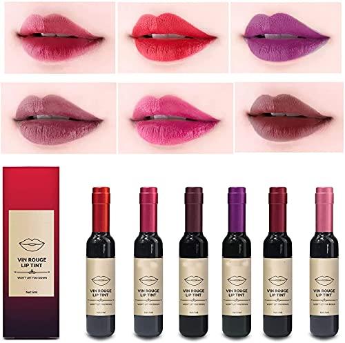 6 Colors/Set Wine Lipstick Matte Long Lasting Waterproof Lip Tint Set, Lady Long Lasting Make Up Gloss Matte Lip Tint Wine Bottle Cover, Waterproof Valentine's Day Idea Gift Kit