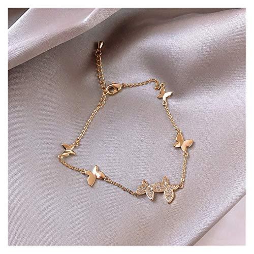 WWWL Collar Prevenir Allergy 925 Pulsera de Boda de Plata esterlina para Mujeres Parejas Classic Crystal Butterfly Mano Joyería Regalos (Color : Gold)