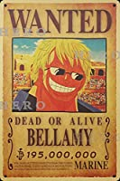 海賊アニメBEELLAMY さびた錫のサインヴィンテージアルミニウムプラークアートポスター装飾面白い鉄の絵の個性安全標識警告バースクールカフェガレージの寝室に適しています