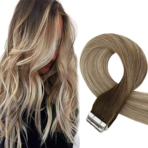 Sunny Brown Ombre Tape in Hair Extensions 24inch #4 Dark Brown Fading to Blonde Mixed Hair Extensions Remy Human Hair Extensions Tape in Natural Straight Seamless,50g/20pcs