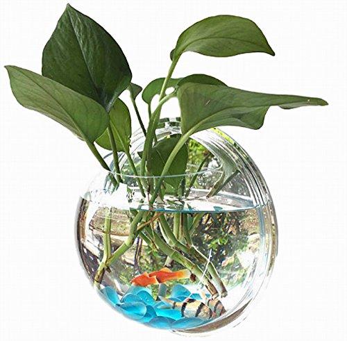 【Rurumi】半球型 ミラー タイプ 壁掛け 水槽 アクアリウム アクリル製 金魚鉢 人工水草 カラフル 小石 ネット 付 植木鉢 観葉植物 花瓶 インテリア (直径 23cm)