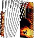 Mountain Grillers - Grillspieße, Schaschlikspieße aus Edelstahl (x 10 Stück) - Lange Spieße für Flei…