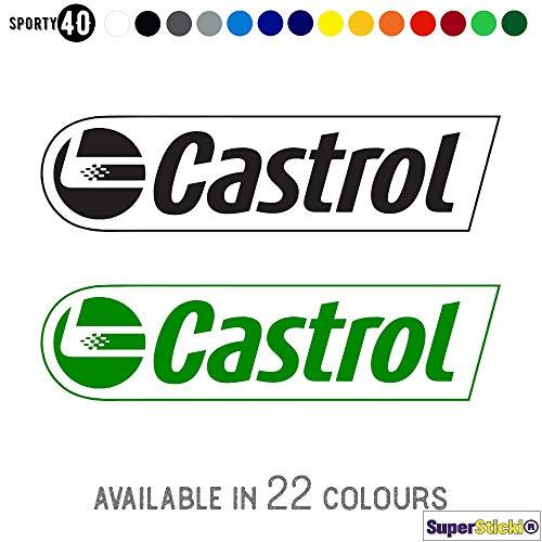 SUPERSTICKI 4X Castrol Oil Oil Oil Motorolie 10cm gewenste kleur Sticker Decal hoogwaardige folie Autosticker Tuning Sticker voor alle gladde oppervlakken UV en wasstraatbestendig Tuning Profi