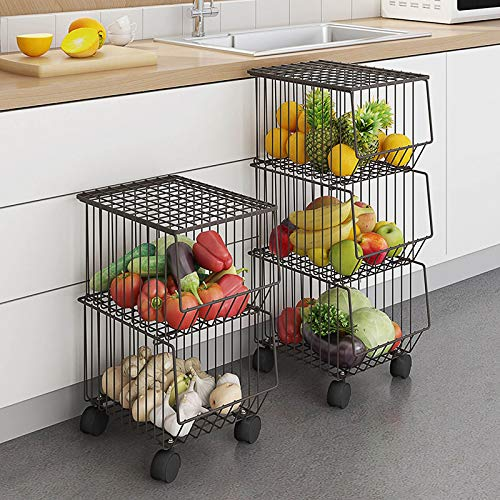 Cesta de alambre de metal con ruedas y cubierta, cesta de frutas apilable con múltiples capas, organizador de almacenamiento para...