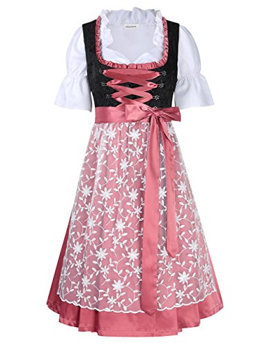 Clearlove Dirndl 3 tlg.Damen Midi Trachtenkleid für Oktoberfest- Spitzen Kleid, Bluse & Schürze, Violett, 44