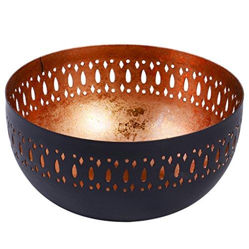 Dibor, ciotola decorativa in rame con bordo intagliato al laser, colore esterno nero opaco Ideale come regalo di compleanno o inaugurazione della casa. Dimensioni: 10 x 20,5 cm (h x d).