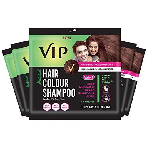 VIP HAIR COLOUR SHAMPOO, Brown, 20ml, (Pack of 5)