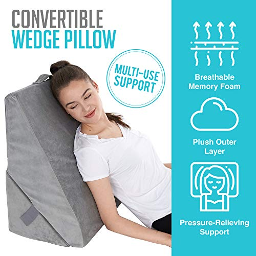 Bed-Wedge-Pillow-Adjustable-912-Inch-Folding-Memory-Foam-Incline-Cushion-System-for-Legs-and-Back-Support-Pillow-Acid-Reflux-Anti-Snoring-Heartburn-Reading–Machine-Washable