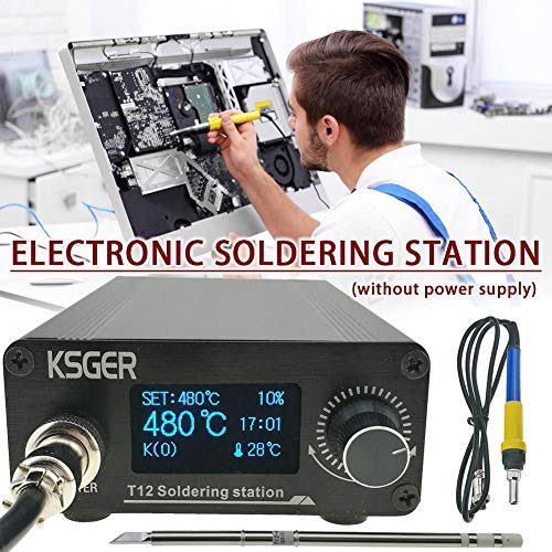 KKmoon T12-942 L/ötstation Kit OLED DIY L/ötelektrowerkzeuge Schwei/ßspitzen Temperaturregler mit K-Spitzen und Griff