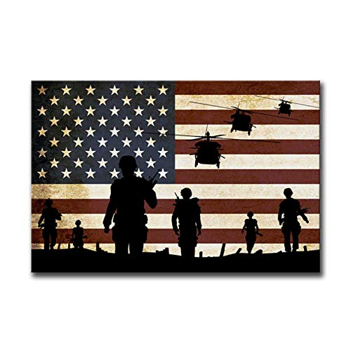 American Flag Wall Art Poster Soldier Military Wall Decor Retro Patriotic Concept USA Flag Canvas Painting Military Art Print Patriotic Wall Art Independence Day Artwork Wooden Framed Ready to Hang for Living Room Office 12x18inch Style A(30X45cm)