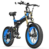 X3000plus-UP Bicicleta de Nieve de 20 Pulgadas con neumáticos Gruesos y 4.0, Bicicleta montaña Plegable, Motor 1000W, Horquilla Delantera Mejorada (Black Blue, 14.5Ah)