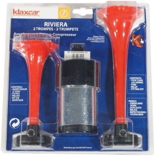 Klaxcar Riviera - Kit de 2 bocinas con compresor, color rojo