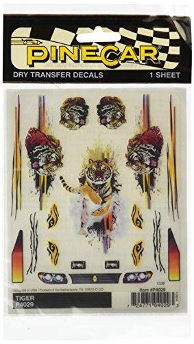 Woodland Scenics Kiefer Auto Derby Dry Transfer Stickers 4 inch x 12,7 cm sheet-tijger