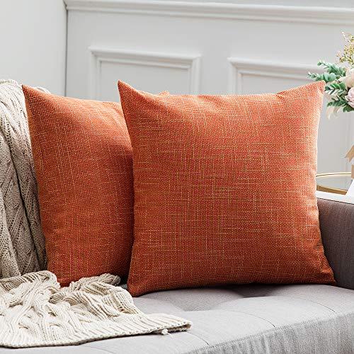 MIULEE 2er Pack Leinenoptik Home Dekorative Kissenbezug Kissenhülle Kissenbezug für Sofa Schlafzimmer mit Reißverschlüsse 50x50 cm Orange