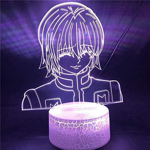 3D ilusión lámpara LED noche Kurapika Gon Killua Anime Hunter X niños dormitorio decoración niño acrílico lámpara de mesa