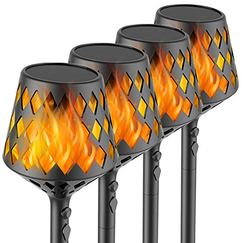 U-miss 4PCs Solar Torch Lights, 35.5 inch 117 LED, Waterproof Landscape Garden Pathway Light with Vivid Dancing Flickering Flames, with Auto On/Off Dusk to Dawn