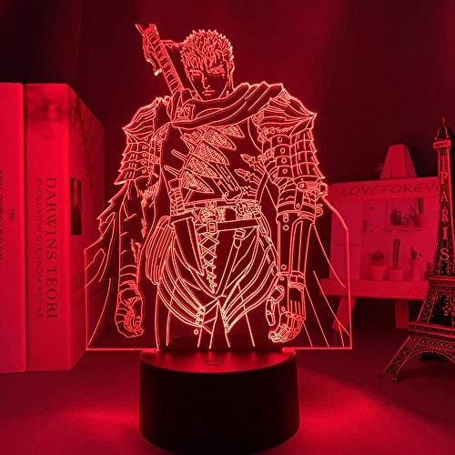Berserk MAOJIE - Lámpara de noche LED 3D con diseño de anime, para dormitorio, decoración de luz nocturna para cumpleaños, habitación de los niños