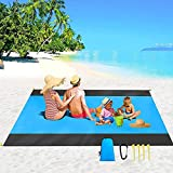 Waterproof Beach Blanket ,79''×83'' Foldable Beach Mat, Picnic Blankets for 4-7 Adults, , Picnic Mat , Oversized Picnic Mat Outdoor,Picnic Blankets with Portable Bag for Beach Travel Camping (Blue)