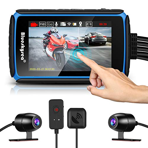 Motorcycle Dashcam Camera, Blueskysea DV988 1080p 30fps Dual Wide Angle 140 Degree Lens Sportbike Recording DVR with 4'' Touch Screen Waterproof 32GB Card Loop Recording GPS Mode