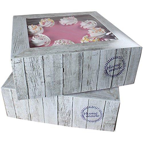 FunCakes - Caja para cupcake o pastel, cuadrada, transporte 26 x 26 x 12 cm Kuchenschachtel