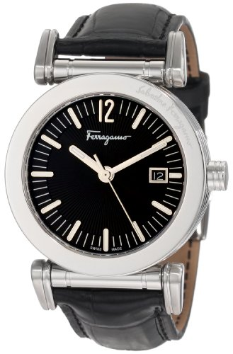 Salvatore Ferragamo Men's F50LBQ9909 S009 Salvatore Black Genuine Alligator Black Dial Watch