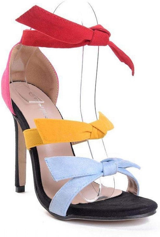 FELICIOO Frauen High Heels Neue Candy Farbe Mode sexy Farbe Stiletto Super High Heels Sandalen (Farbe   Farbeful, Größe   37)  | Attraktiv Und Langlebig