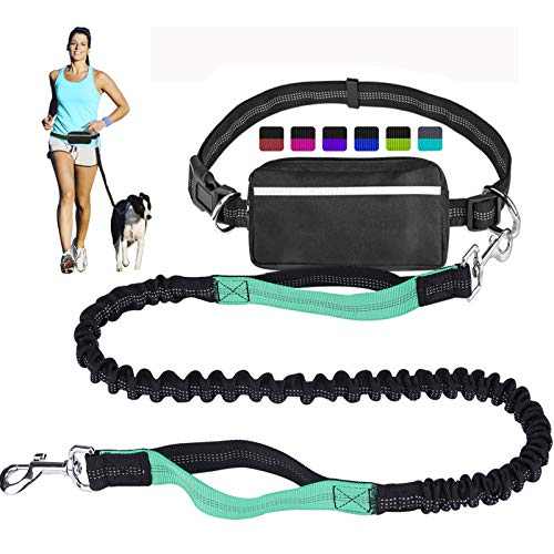 Hands Free Dog Leash for Running Walking Training Hiking, Dual-Handle Reflective Bungee, Poop Bag Dispenser Pouch, Adjustable Waist Belt, Shock Absorbing, Ideal for Medium to Large Dogs (Black / Teal)